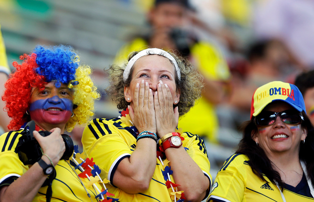 . Colombia\'s fans wait for the group C World Cup soccer match between Colombia and Ivory Coast at the Estadio Nacional in Brasilia, Brazil, Thursday, June 19, 2014.  (AP Photo/Themba Hadebe)