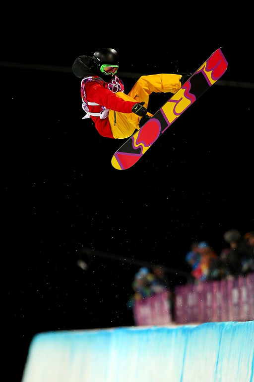 . Xuetong Cai of China competes in the Snowboard Women\'s Halfpipe Finals on day five of the Sochi 2014 Winter Olympics at Rosa Khutor Extreme Park on February 12, 2014 in Sochi, Russia.  (Photo by Mike Ehrmann/Getty Images)