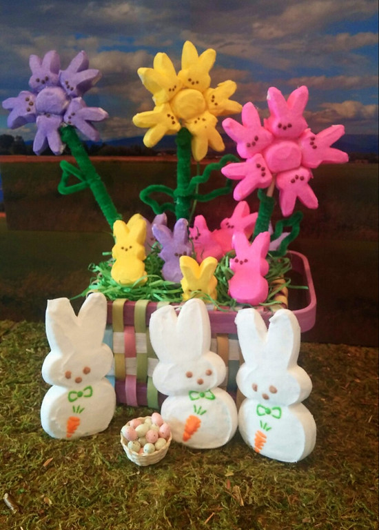 . I thought after this cold, wet spring, a bouquet of colorul PEEPS would cheer anybody up. I used the peeps for the flowers, and the stems and petals are made from pipe cleaner wrapped around a dowel. The bigger peeps in front are guarding their basket of eggs. (Antonia Jensen, 53)