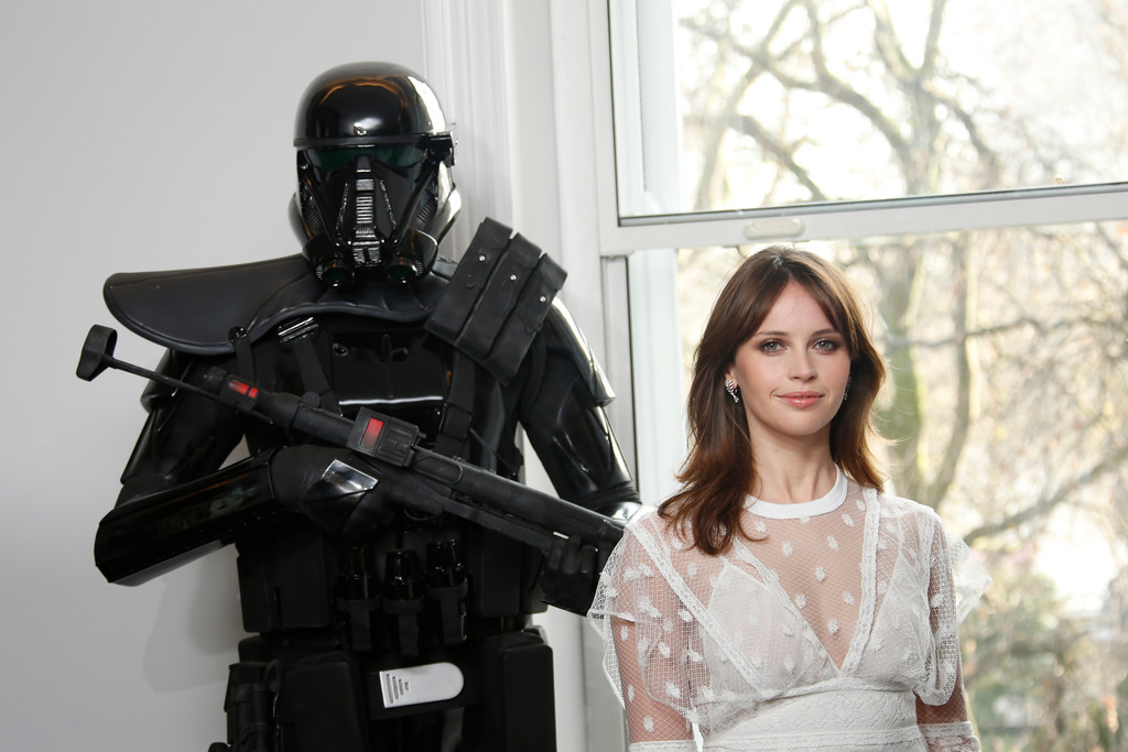 . Actress Felicity Jones poses for photographers during the Rogue One: A Star Wars Story fan photo call in London, Wednesday, Dec. 14, 2016. (Photo by Joel Ryan/Invision/AP)