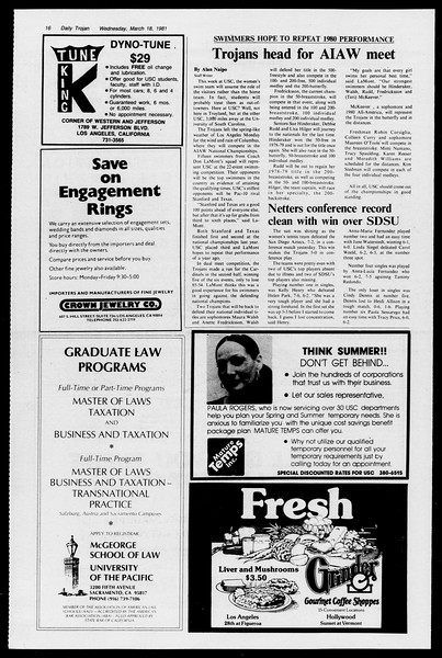 Daily Trojan, Vol. 90, No. 29, March 18, 1981