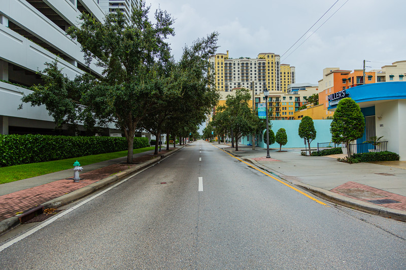 South Olive Avenue in downtown West Palm Beach is deserted  ahead of Hurricane Dorian side-swiping Florida's east coast on Labor Day, Monday, September 2, 2019. [JOSEPH FORZANO/palmbeachpost.com]