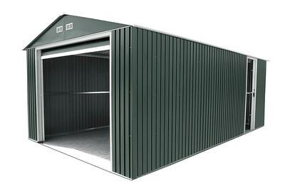 Imperial Metal  Garage Dark Gray with White Trim 12x20