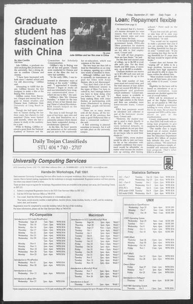 Daily Trojan, Vol. 116, No. 19, September 27, 1991