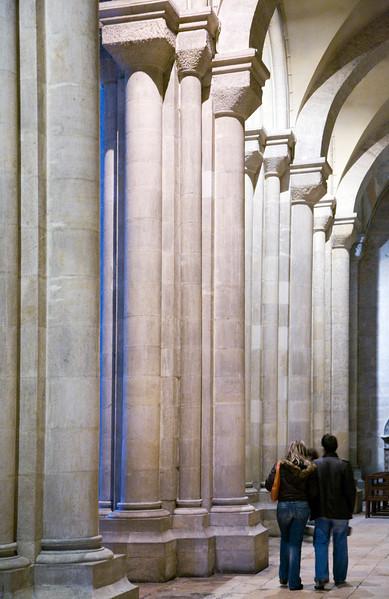 Visitors inside Lisbon cathedral