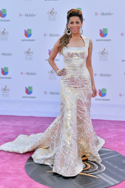 ". Lourdes Stephen arrives at the 25th Anniversary of Univision\'s ""Premio Lo Nuestro A La Musica Latina\"" on February 21, 2013 in Miami, Florida.  (Photo by Gustavo Caballero/Getty Images for Univision)"