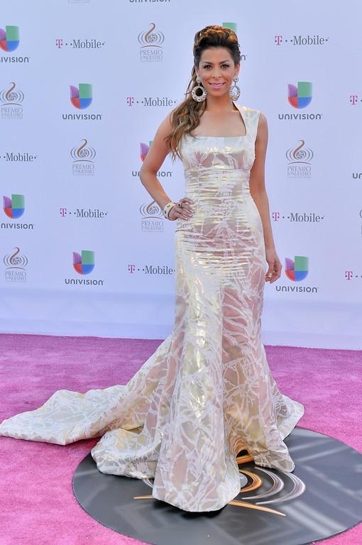 ". Lourdes Stephen arrives at the 25th Anniversary of Univision\'s \""Premio Lo Nuestro A La Musica Latina\"" on February 21, 2013 in Miami, Florida.  (Photo by Gustavo Caballero/Getty Images for Univision)"