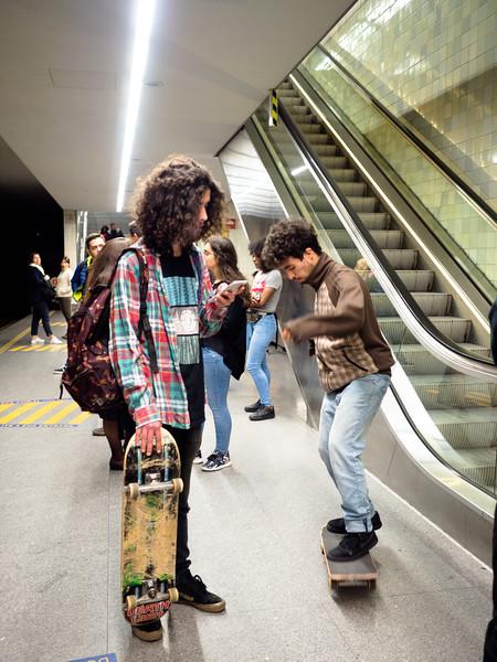 Skate boarding at the subway station