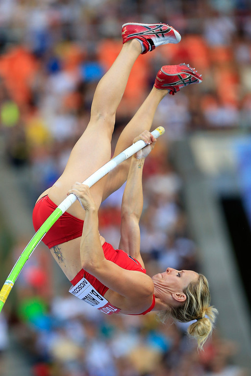 . Becky Holliday of the United States competes in the Women\'s Pole Vault qualification during Day Two of the 14th IAAF World Athletics Championships Moscow 2013 at Luzhniki Stadium on August 11, 2013 in Moscow, Russia.  (Photo by Jamie Squire/Getty Images)