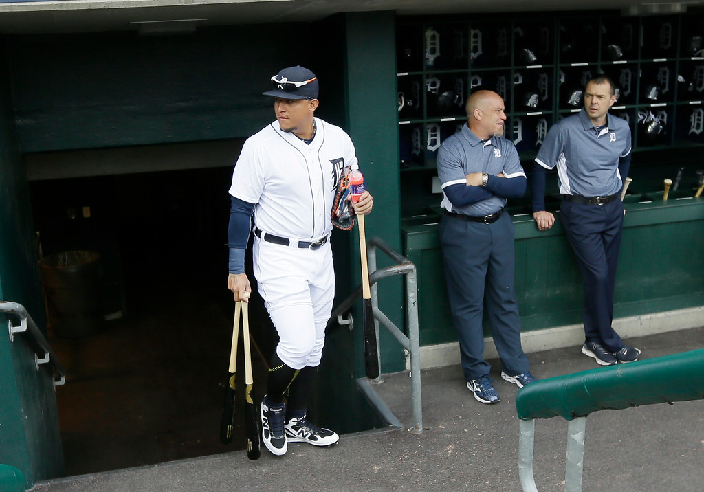 . Detroit Tigers first baseman Miguel Cabrera walks out of the clubhouse before an opening day baseball game against the Minnesota Twins in Detroit, Monday, April 6, 2015. (AP Photo/Carlos Osorio)