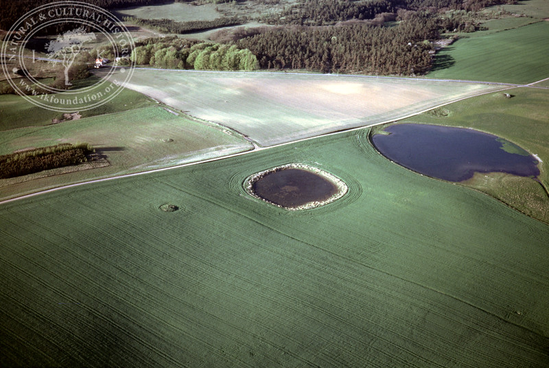 Farmland Torups Gård, south Ravlunda - with ponds and prehistoric remains (4 May, 1989). | LH.0672