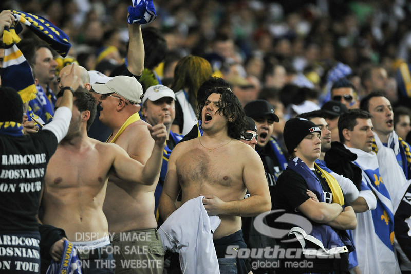 Bosnia-Herzegovina Fans show their displeasure at the score during Soccer action between Bosnia-Herzegovina and Mexico.  Mexico defeated Bosnia-Herzegovina 2-0 in the game at the Georgia Dome in Atlanta, GA.