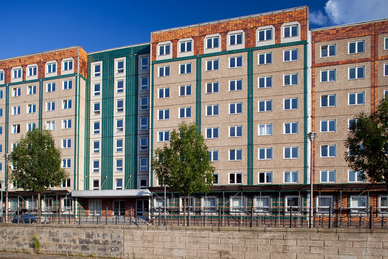 Apartment buildings by the Spree river, Reichstagufer street, Berlin, Germany