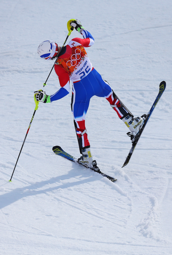 . Adrien Theaux of France competes during the Alpine Skiing Men\'s Super Combined Downhill on day 7 of the Sochi 2014 Winter Olympics at Rosa Khutor Alpine Center on February 14, 2014 in Sochi, Russia.  (Photo by Alexander Hassenstein/Getty Images)