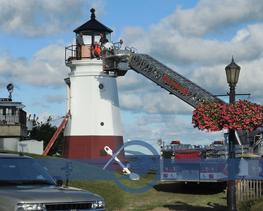 September 11, 2016, The Fresnel light is installed in the Vermilion lighthouse.