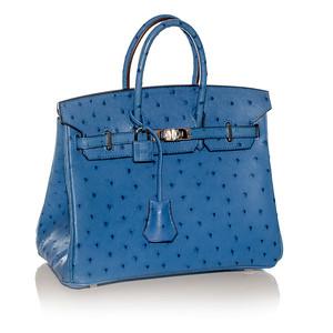 HERMES Ostrich Birkin 25 cm Blue Palladium Hardware NWOCTS 1311170343