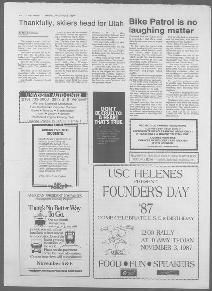 Daily Trojan, Vol. 105, No. 42, November 02, 1987