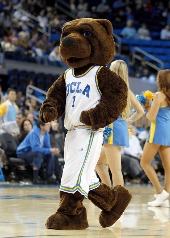 . UCLA mascot on the court in the second half of their NCAA college basketball game against Oakland Tuesday, Nov. 12, 2013, in Los Angeles. UCLA won the game 91-60.  (AP Photo/Alex Gallardo)