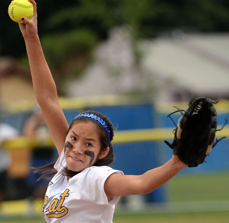 . Bishop Amat starting pitcher Francesca Garcia throws to the plate against La Serna in the first inning of a prep playoff softball game at Bishop Amat High School in La Puente, Calif., on Thursday, May 22, 2014. La Serna won 6-0.   (Keith Birmingham/Pasadena Star-News)