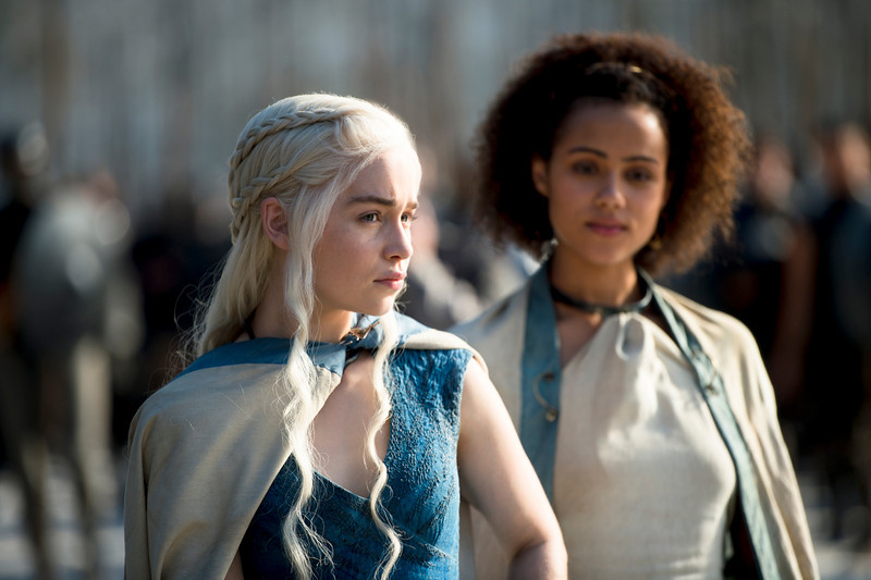 . Game of Thrones, Season 4: Emilia Clarke and Nathalie Emmanuel. (Photo by Macall B. Polay)