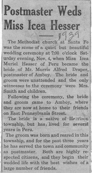 Newspaper Clipping - Icea & Morris Draper Wedding Announcement - November 1939.jpg