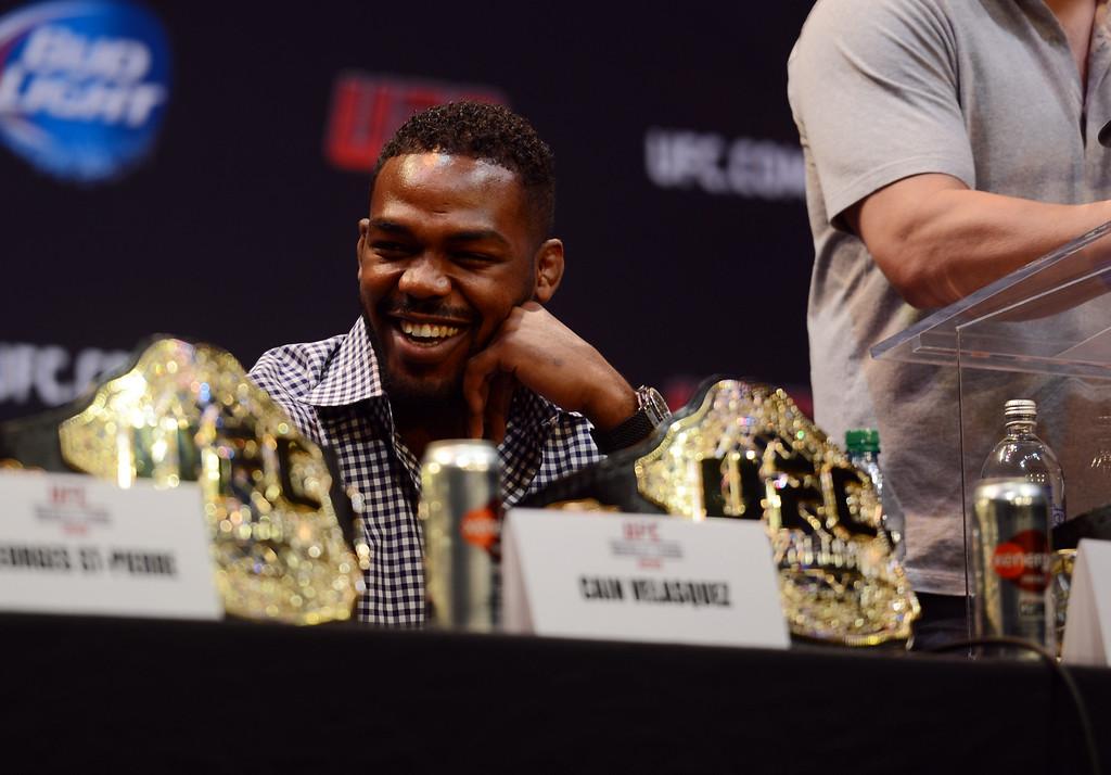 . UFC light heavyweight champion Jon Jones during the UFC World Tour at Club Nokia Tuesday, July 30, 2013 in Los Angeles. (Hans Gutknecht/Los Angeles Daily News)