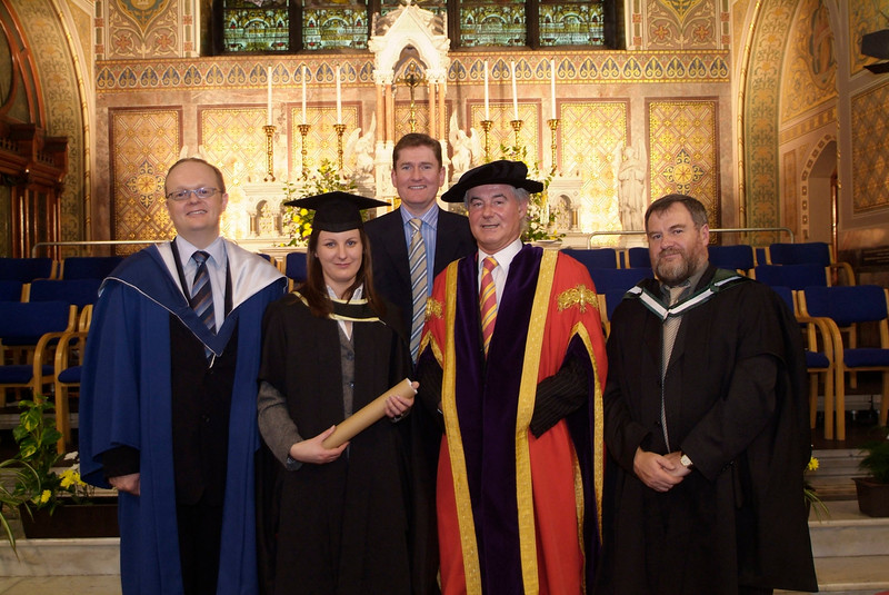 Catherine Crosse, Mullinahone, Co. Tipperary, pictured with from left: Dr. Tom O' Toole, Sean McKeown, CEO Kilkenny County enterprise Board; Prof Kieran R. Byrne and Bill O'Gorman, WIT. Catherine graduated as Master of Business Studies at Waterford Institute of Technology.(pic-Photozone)