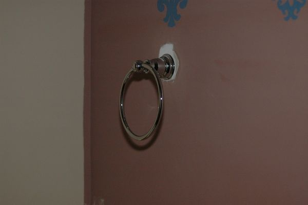 this is the truest color of the wall with the new chrome towel ring.