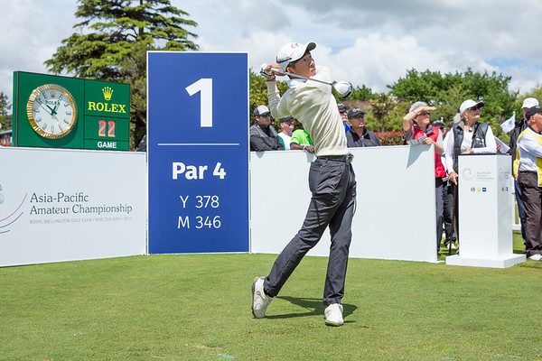 Hsieh Ting-wei from Chinese Taipei hitting off the 1st tee on Day 1 of competition in the Asia-Pacific Amateur Championship tournament 2017 held at Royal Wellington Golf Club, in Heretaunga, Upper Hutt, New Zealand from 26 - 29 October 2017. Copyright John Mathews 2017.   www.megasportmedia.co.nz