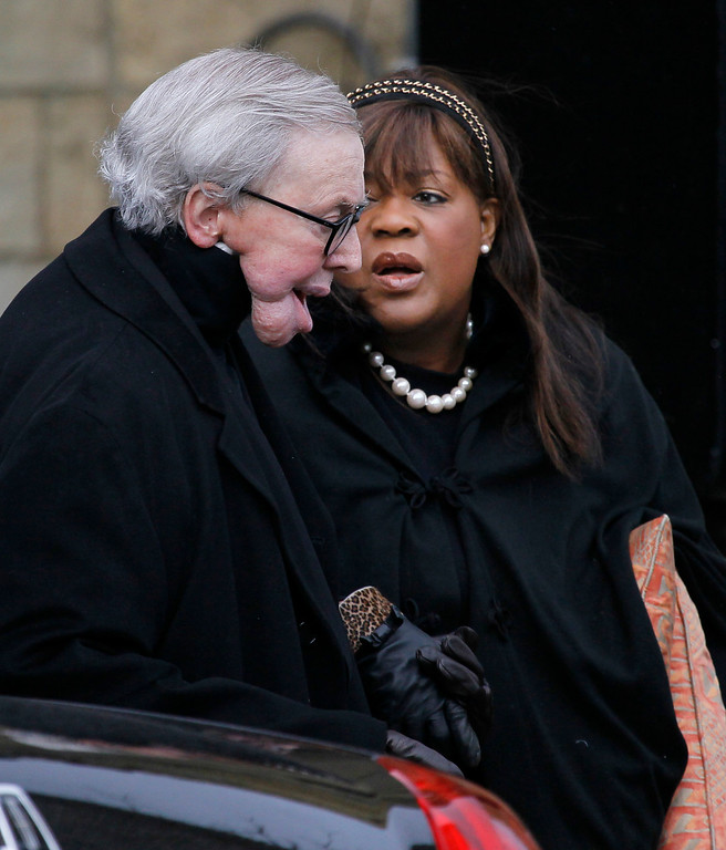 . Film critic Roger Ebert and his wife Chaz Ebert, arrive the funeral of Former Chicago Mayor Richard M. Daley\'s wife Maggie Daley out at Old St. Patrick\'s Catholic Church in Chicago after her funeral service Monday, Nov. 28, 2011, Mrs. Daley died Nov. 24 after a long battle with cancer. (AP Photo/Charles Rex Arbogast)