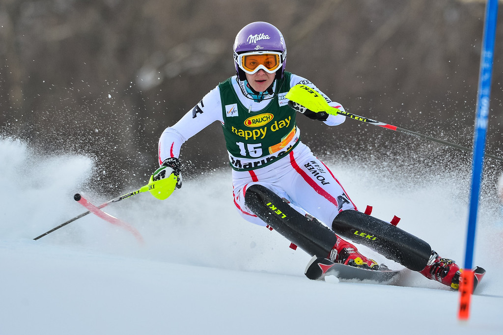 . Michaela Kirchgasser of Austria competes during first run of the FIS women\'s World Cup slalom in Maribor on January 27, 2013.       Jure Makovec/AFP/Getty Images