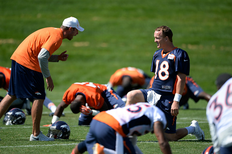 . Denver Broncos quarterback Peyton Manning (18) talks with offensive coordinator during practice August 25, 2014 at Dove Valley.(Photo by John Leyba/The Denver Post)