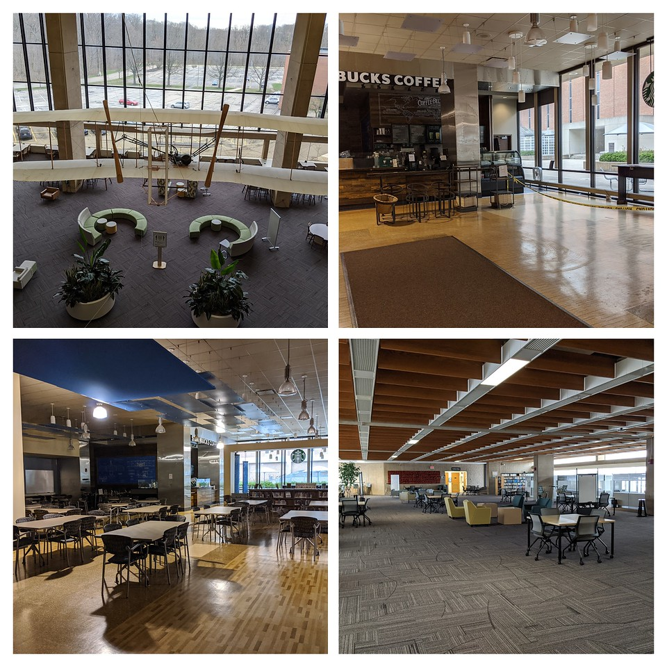 Deserted Dunbar Library, Wright State University, March 20, 2020