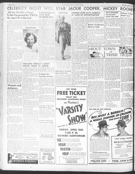 Daily Trojan, Vol. 28, No. 114, April 13, 1937