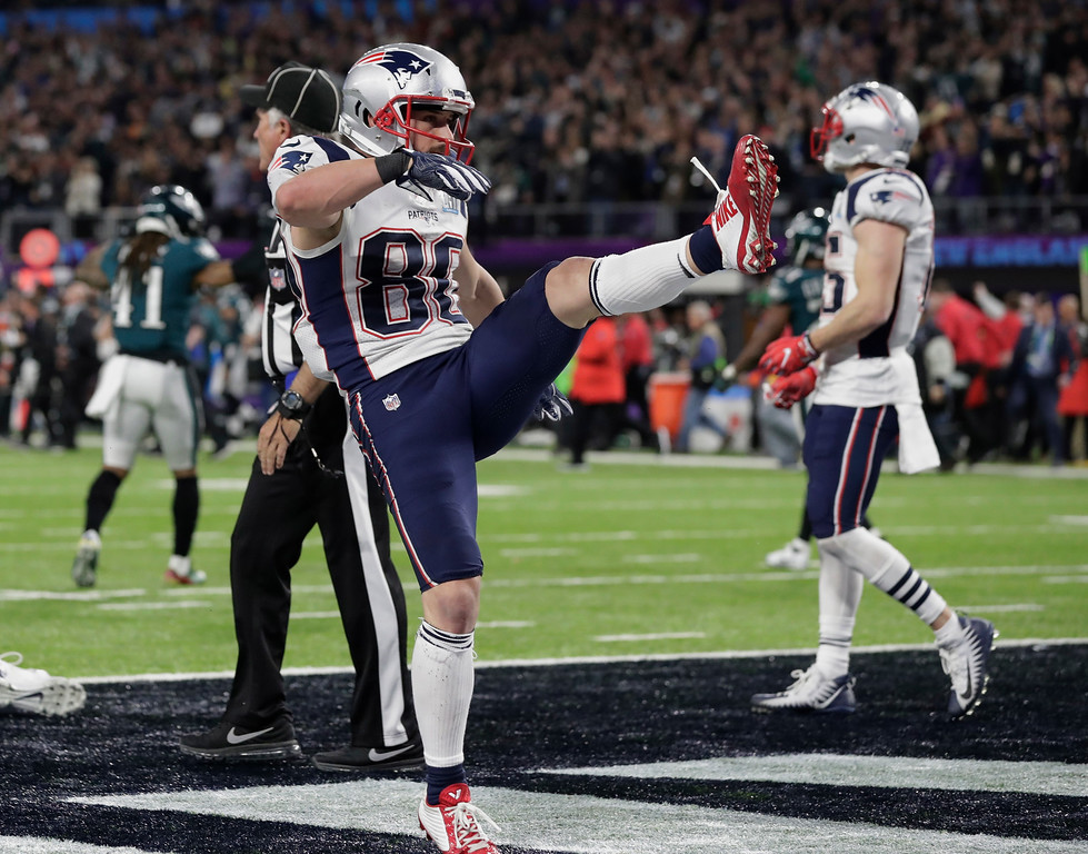 . New England Patriots wide receiver Danny Amendola (80), kicks at the ball as he reacts after the NFL Super Bowl 52 football game against the New England Patriots, Sunday, Feb. 4, 2018, in Minneapolis. The Eagles won 41-33. (AP Photo/Tony Gutierrez)