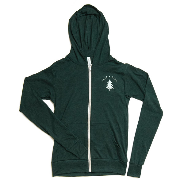 Organ Mountain Outfitters - Outdoor Apparel - Lightweight Sweater - Take A Hike Zip-Up Hoodie - Forest Green Front.jpg