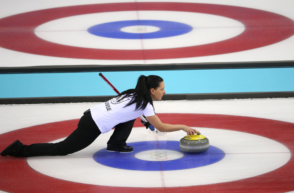 . Carmen Schaefer of Switzerland in action during the Bronze Medal match between Switzerland and Great Britain in the Women\'s Curling competition in the Ice Cube Curling Center at the Sochi 2014 Olympic Games, Sochi, Russia 20 February 2014.  EPA/TATYANA ZENKOVICH