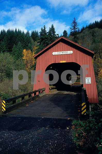 Chitwood covered bridge in Oregon Coast Range. 3