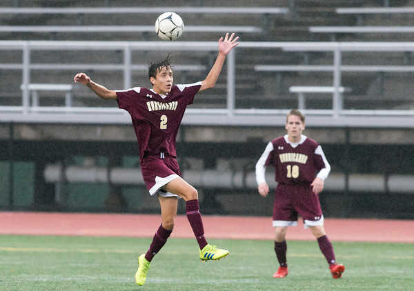 10/29/19 Wesley Bunnell | StaffrrNew Britain soccer was defeated 2-0 by Newington during a drizzle at Veterans Stadium on Tuesday afternoon. New Britain's Kevin Gottner (2).