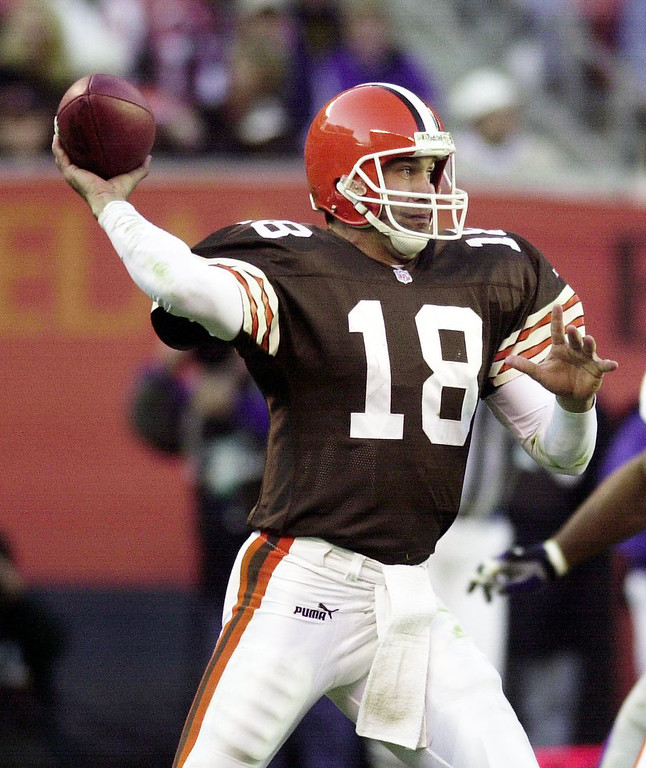 . News-Herald file Browns quarterback looks to pass Sunday as the Browns lose 24-3 to the New York Giants at Cleveland Browns Stadium.