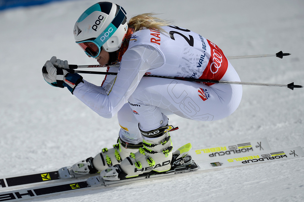 . BEAVER CREEK, CO - FEBRUARY 12: USA skier Julia Mancuso competes during the ladies\' giant slalom. FIS Alpine World Ski Championships 2015 on Thursday, February 12, 2015. (Photo by AAron Ontiveroz/The Denver Post)