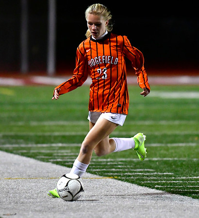 11/19/2019 Mike Orazzi | Staff Ridgefield High School's Allison Ouellette (23) during the Class LL Semifinal Girls Soccer match with Southington at Naugatuck High School Tuesday night. Southington advanced to the final 1-0.