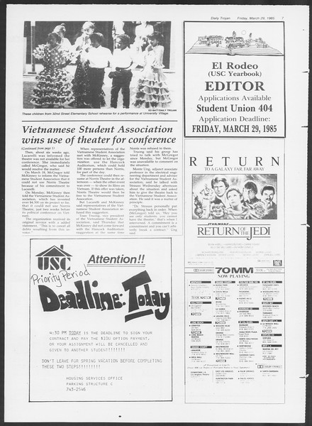 Daily Trojan, Vol. 98, No. 54, March 29, 1985