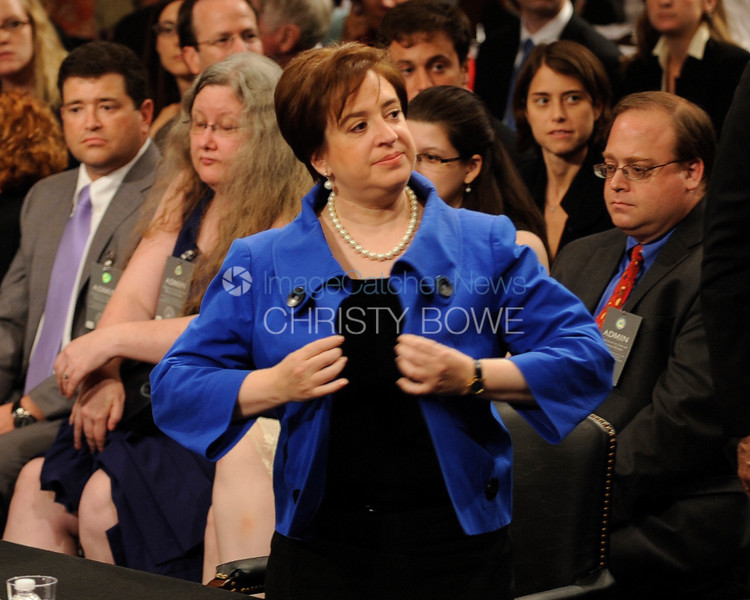 U.S. Solicitor General Elena Kagan continues  the confirmation hearing process that will determine if she becomes the next Supreme Court Justice .