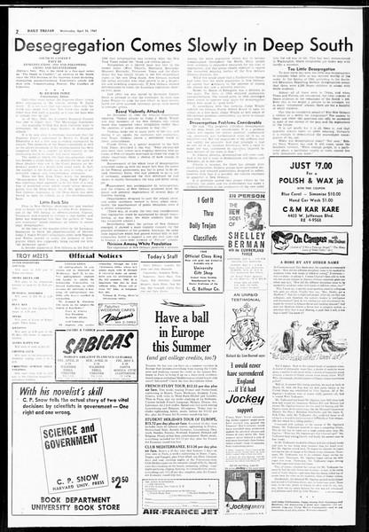 Daily Trojan, Vol. 52, No. 113, April 26, 1961