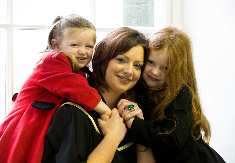 Pictured is Leanne Culleton, Waterford who graduated in Master of Arts. Also pictured is her daughters Heidi and Poppy. Picture: Patrick Browne