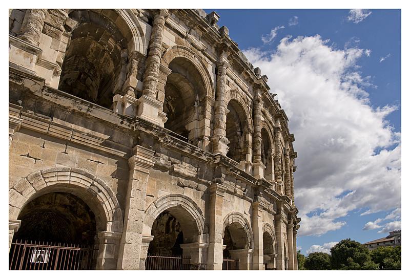 Arena in Nimes.  We were unable to go inside because they were preparing for 4 nights of bull-fights.  Needless to say, we were not going to stay for them.