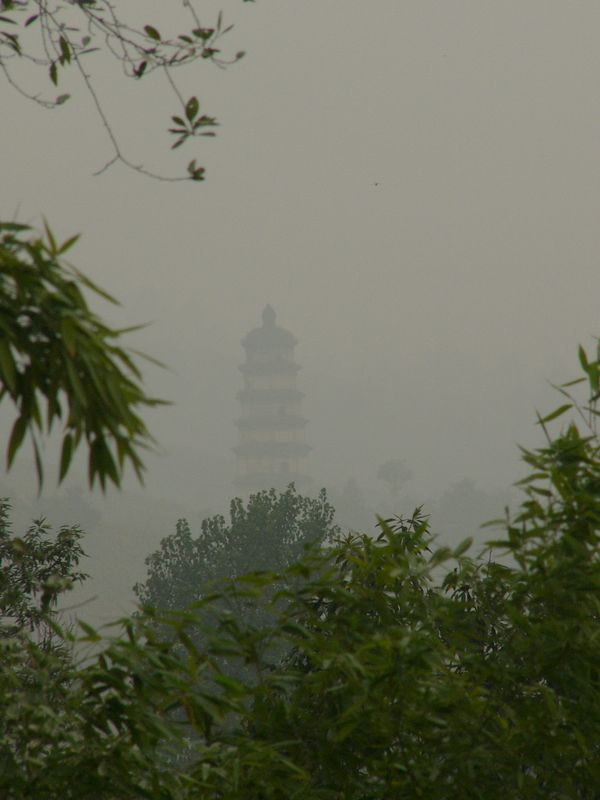 """05Oct05_1536 Another rainy day in central China! This picture is of a temple, and is taken from a nearby hill, LouGuanTai. It is an old Nestorian temple, the <a href=""""http://en.wikipedia.org/wiki/Daqin_Pagoda"""">Daqin pagoda &#22823;&#31206;&#22612;</a>. The Nestorians were a Christian sect which spread into China during the 7th century A.D.."""