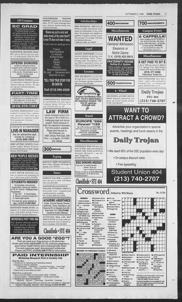 Daily Trojan, Vol. 129, No. 7, September 09, 1996