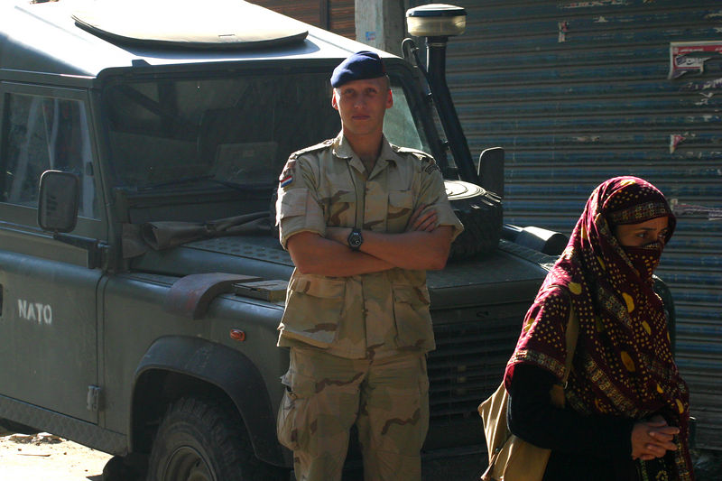 NATO was deploying a field hospital.  This soldier was asked by Captain Ali to pose for me!